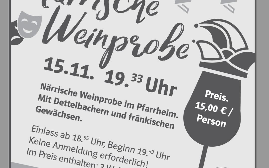 Närrische Weinprobe im Pfarrheim Dettelbach