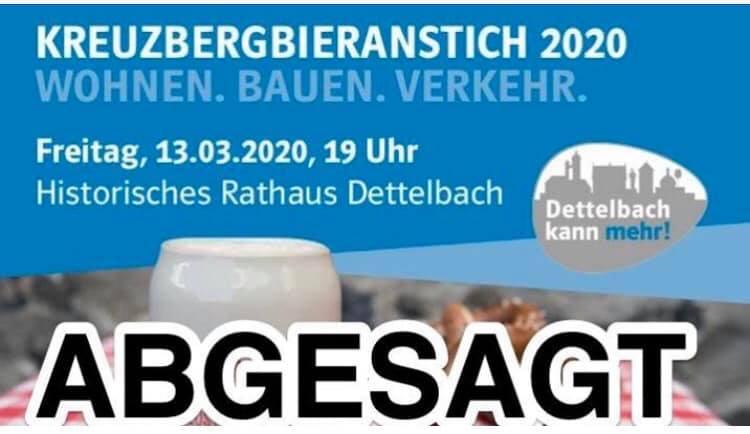 Ortsverband Dettelbach sagt Kreuzbergbieranstich wegen Corona-Virus ab